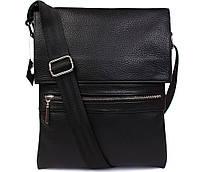 Мужская сумка через плечо из натуральной фактурной черной кожи 29х24х5-6см.