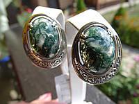 Серьги серебряные с агатом моховым