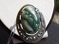 Кольцо серебряное с агатом моховым