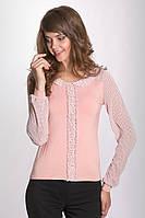 Женская блуза розового цвета из вискозы с рукавами из шифона. Модель 607 Mirabelle.