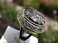 Кольцо серебряное с агатом турителла