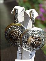 Серьги серебряные с агатом турителла