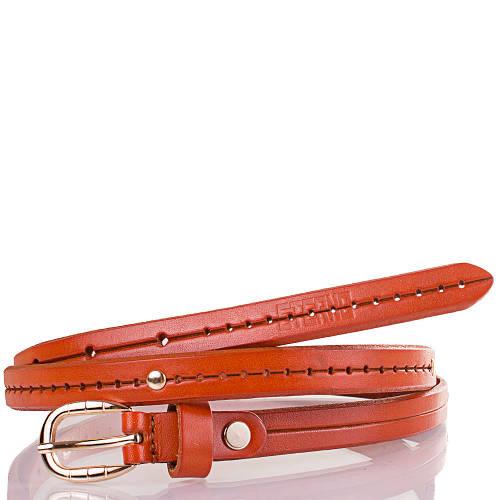 Женский узкий кожаный ремень ETERNO (ЭТЕРНО) ETS5072-12 коричневато-оранжевый