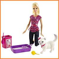 "Кукла Barbie с кошкой серия ""Уход за любимцами"" Барби"