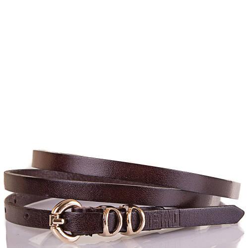 Женский узкий кожаный ремень ETERNO (ЭТЕРНО) ETS8024-10 очень темно-коричневый