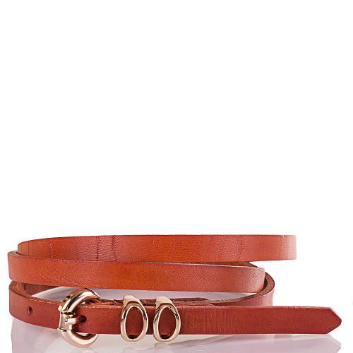 Женский узкий кожаный ремень ETERNO (ЭТЕРНО) ETS8024-12 коричневато-оранжевый