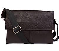 Классическая коричневая сумка через плечо 17х24,5х5-7см.