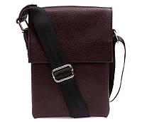 Небольшая коричневая сумка из натуральной кожи 21х16х4-6см.