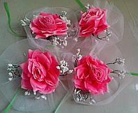 Цветы на ручки свадебного авто (розовая роза) 4 шт.
