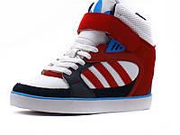 Сникерсы Adidas Wedge Heels женские белые/ красные/ на липучка, высокие, фото 1