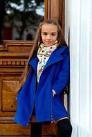 Пальто кашемировое для девочки синее