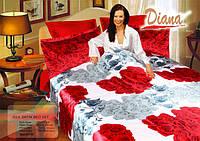 Комплект постельного белья Атласный Diana Refresh простынь на резинке