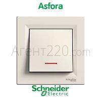 Выключатель 1кл. с подсветкой кремовый Asfora EPH1400123