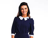 Офисная синяя блуза с белым воротником