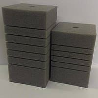 Фильтрующая губка/мочалка 10x10x10cм, прямоугольная мелкопористая.