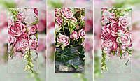 """Схема (триптих) на художественном полотне для вышивания бисером на подрамнике - """"Розы"""""""