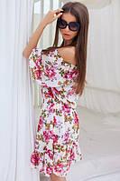 Белое платье в цветы спадающее с плеч