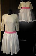 Комплект одинаковых платьев мама и дочка с кружевом и фатином на юбке у девочки