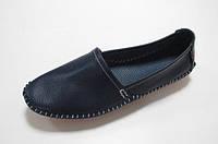 Модные женские кожаные мокасины (темно-синий)
