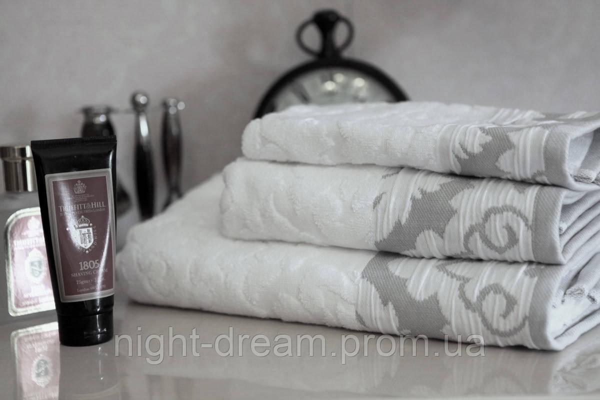 Набор махровых полотенец 3 шт. BONCASA Damask 1726 FE белые с серым