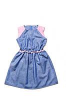 Платье для девочки синее повседневное, 6-7 лет, р.122