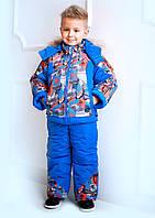 """Верхняя одежда, детская зимняя, комбинезон/комплект для мальчика с отстегивающимся капюшоном """"Fashion"""" (оранж)"""