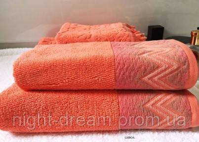 Набор махровых полотенец 2 шт. BONCASA  Lisboa 2372 FE морковный