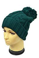 Качественная молодежная шапка зеленого цвета