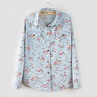 Джинсовая рубашка цветочный принт