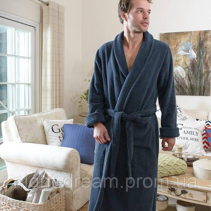 Мужской махровый халат CASUAL AVENUE Chicago DEEP BLUE синий размер L