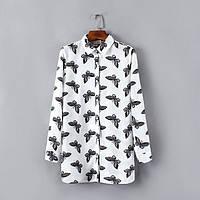 Стильная блузка с бабочками, белая и черная