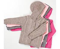 Теплая кофта для девочек с капюшоном р 80,86,92 цвет серый