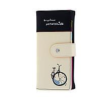 Женские кошельки с принтом. Велосипед. Разные цвета. Черный, сиреневый, красный, голубой, розовый.