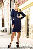 Классическое осеннее платье, декорировано пуговицами на плечах, осеннее, с длинными рукавами, темно-синее