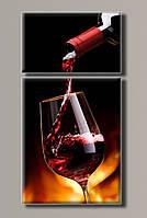 "Модульная картина на холсте  из 2-х частей ""Красное вино"""