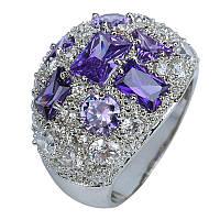 Серебряное кольцо с фиолетовым аметистом Богемия