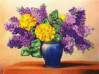 Набор для вышивки лентами Желтые розы и сирень НЛ-4007