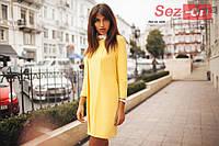 Платье женское с белым воротником - Желтый
