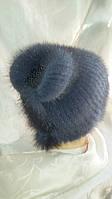 Интересная шапка из вязаной норки. Цвет меха: светло-серый, тёмно-серый, чёрный
