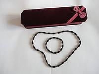 Набор (Турмалиновые бусы и браслет с магнитами)