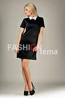 Женское платье трикотажное черное белый воротник