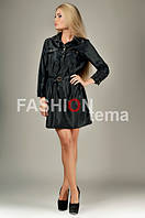Женское платье плащевка черное с поясом