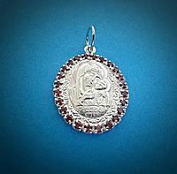 """Серебряная ладанка """"Касперовская икона Божией Матери"""" с красными камнями"""