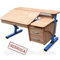 """Письменный стол растущая конструкция """"Эргономик"""" с тумбой детский дерево 120х70см"""