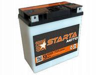 Мотоаккумулятор Starta 6мтс9 СП 12 Вольт 9 Ач плоская клемма
