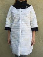 Белое пальто из меха нутрии