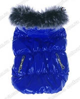 Курточка для собаки синяя на флисе и синтапоне