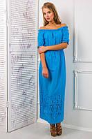 Платье-сарафан из цветного шитья цвет голубой  АЛЕСЯ, фото 1