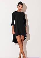 Платье свободного кроя из платьельно-костюмной ткани черного цвета сзади длиннее впереди короче