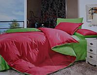 Двуспальное(евро) постельное белье сатин делюкс Prestij Textile малиновое с салатовым